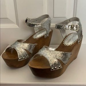 Juicy couture wooden clog sandals silver glitter 8